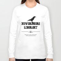 library Long Sleeve T-shirts featuring Nevermore Library by Zooky