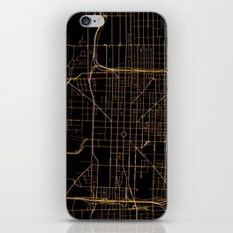 Black and gold Indianapolis map iPhone Skin