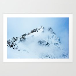 Foggy mountain ridge covered in snow aboge Engelberg, Titlis, Switzerland Art Print