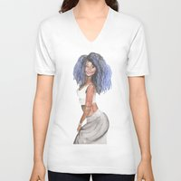doll V-neck T-shirts featuring Doll by Marie Pascale L