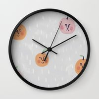 fruit Wall Clocks featuring Fruit by Tuesday Logan