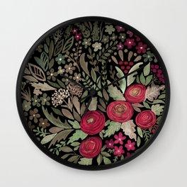 Watercolor . Night garden . Wall Clock