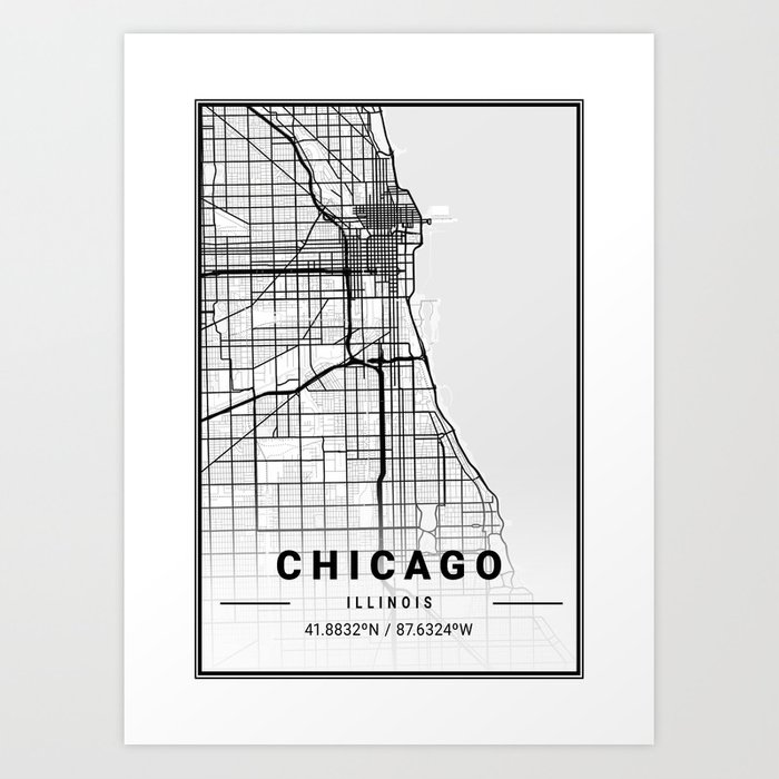 Chicago Light City Map Art Prints