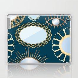 Retro Rattan Midcentury Mirrors in Dark Teal Laptop & iPad Skin