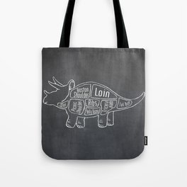 Triceratops Dinosaur (A.K.A Three Horn Face) Butcher Meat Diagram Tote Bag