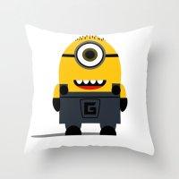 minion Throw Pillows featuring Minion by Ian Zandi