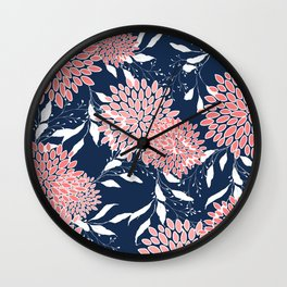Floral Prints and Leaves, Pink, White and Navy Blue Wall Clock