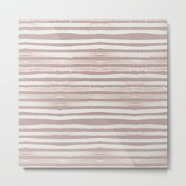 Simply Shibori Stripes Lunar Gray on Clay Pink Metal Print