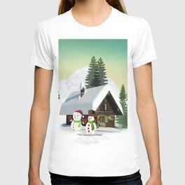 Christmas Snowman Scene T-shirt
