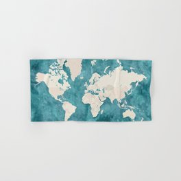 Teal watercolor and light brown world map Hand & Bath Towel
