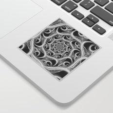 Fractal Web White on Black Sticker