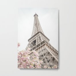 Eiffel Tower Cherry Blossoms Metal Print