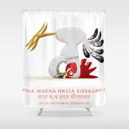 Ardha Mukha Hasta Sirsasana Chicken Yoga Shower Curtain