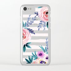 Victoria Blushing Stripe Clear iPhone Case
