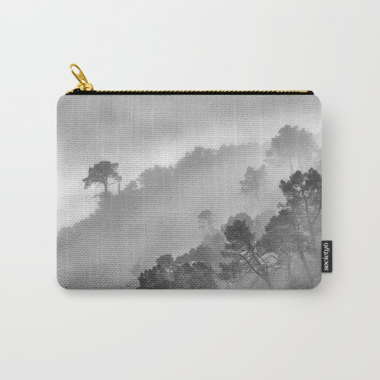 """BW.""""Mountain light II"""". Foggy forest. Carry-All Pouch"""