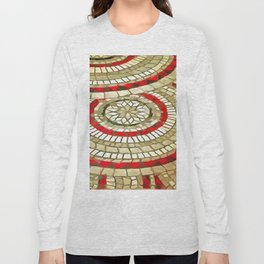 Mosaic Circular Pattern In Red and Gold Long Sleeve T-shirt