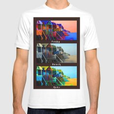 Funky Beach Huts (Triptych) White Mens Fitted Tee MEDIUM