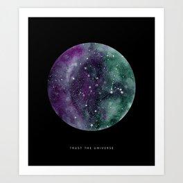 Trust the Universe Black Art Print