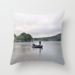 Misty Morning Fishing on the Lake Throw Pillow