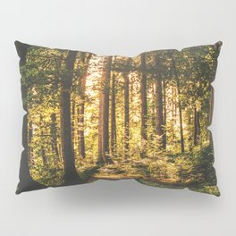 Woods  - Forest, green trees outdoors photography Pillow Sham