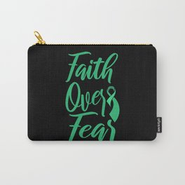 FAITH OVER FEAR World Cancer Day Gift Green Ribbon Carry-All Pouch