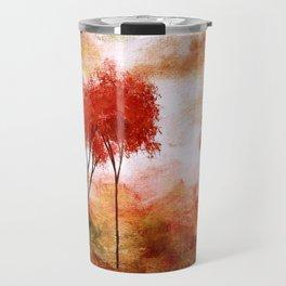 Burning Promise, Red Trees Landscape Art Travel Mug