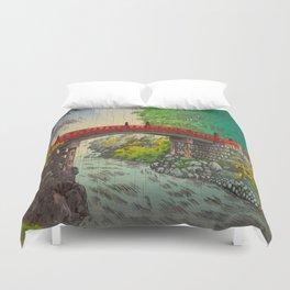 Vintage Japanese Woodblock Print Garden Red Bridge River Rapids Beautiful Green Forest Landscape Duvet Cover