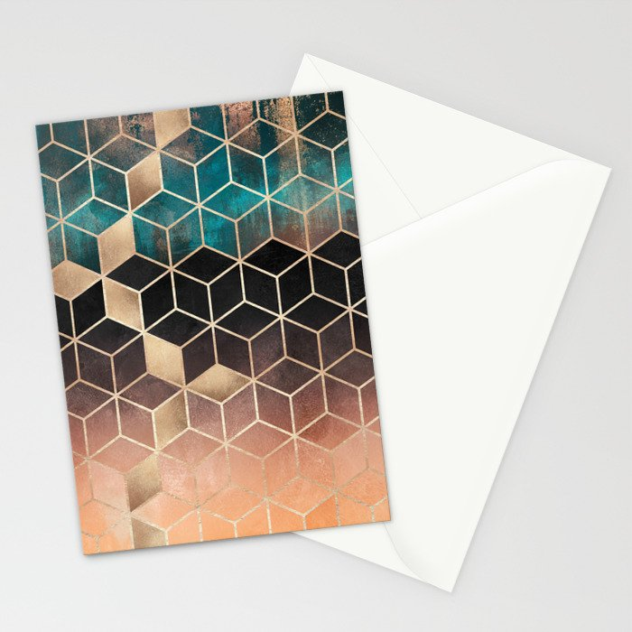 Ombre Dream Cubes Stationery Cards
