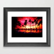 Palm Trees Sunset Framed Art Print