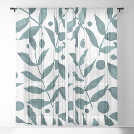 Watercolor berries and branches - teal grey Sheer Curtain