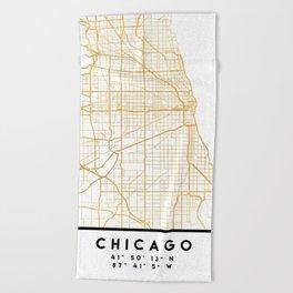 CHICAGO ILLINOIS CITY STREET MAP ART Beach Towel