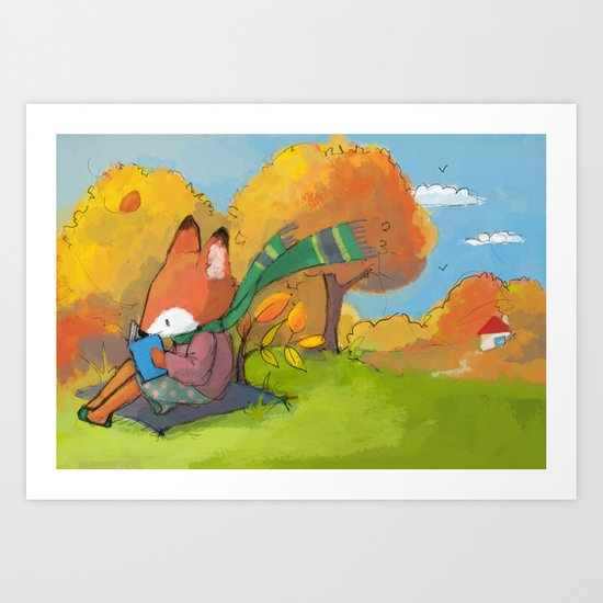 Reading fox Art Print