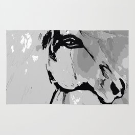 HORSE BLACK AND WHITE Rug
