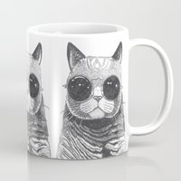 ariana grande Mugs featuring cool cat by Polkip