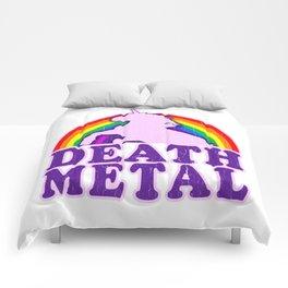 Funny Death Metal Unicorn Rainbow T-Shirt Comforters