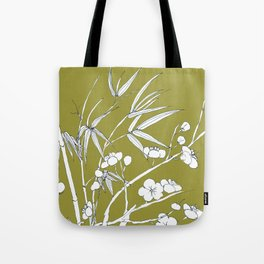 bamboo and plum flower in white on yellow Tote Bag