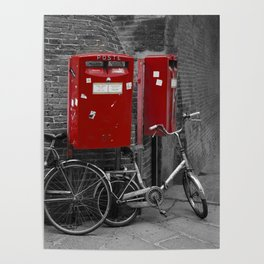 Red Letter Boxes of Bologna Black and White Photography Poster