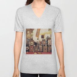 Old Cameras (Vintage and Retro Film Cameras Collection) Unisex V-Neck