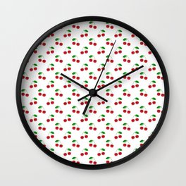 Natural Bright Red Cherries on White Pattern Wall Clock