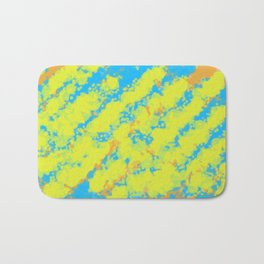 yellow blue and orange dirty painting abstract background Bath Mat