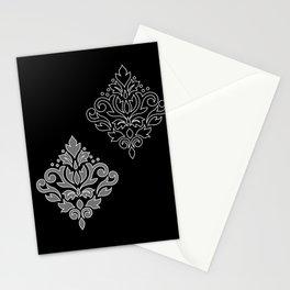Scroll Damask Art I Wt Line Gray Blk Stationery Cards