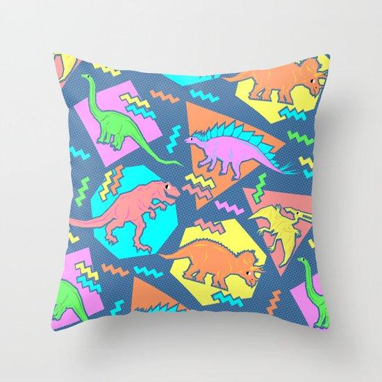 Nineties Dinosaur Pattern Throw Pillow