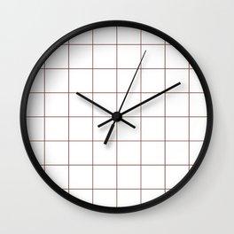 Graph Paper (Brown & White Pattern) Wall Clock