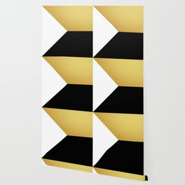 Gold White Black Abstract Geometric Art Wallpaper