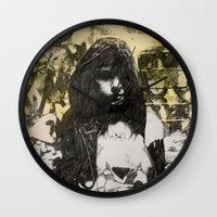 jenna kutcher Wall Clocks featuring JENNA by JESSE OLWEN