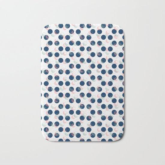Blue Polka Dots And Scribbles Bath Mat
