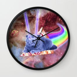 Laser Eyes Space Cat Riding Rainbow Pizza Wall Clock