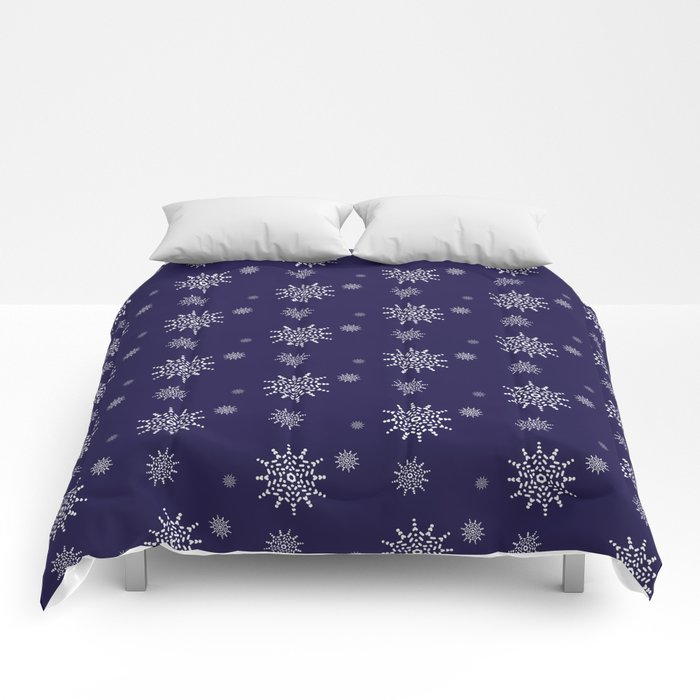 Snowflakes at Night Comforters