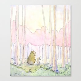 Unlikely Friendship Large Print (Bunny and Bear in the Woods) Canvas Print