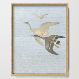 Nothing to match the flight of wild birds flying Serving Tray